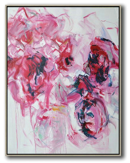 Hame Made Extra Large Vertical Abstract Flower Oil Painting,Original Art Acrylic Painting #Q0I9