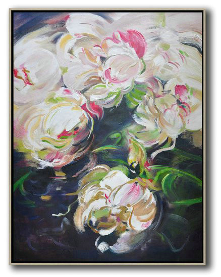 Hame Made Extra Large Vertical Abstract Flower Oil Painting,Large Paintings For Living Room #A1J7