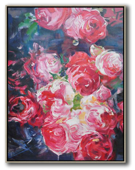 Hame Made Extra Large Vertical Abstract Flower Oil Painting,Huge Abstract Canvas Art #O4A8