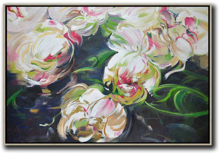 Horizontal Abstract Flower Painting Living Room Wall Art,Acrylic Painting On Canvas #J0I0