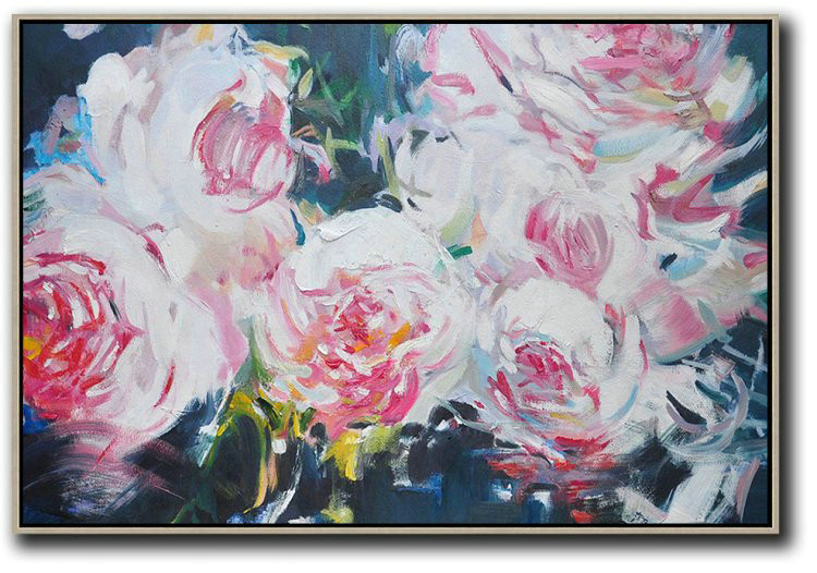 Horizontal Abstract Flower Painting