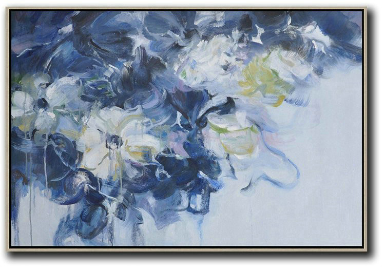 Horizontal Abstract Flower Painting Living Room Wall Art Hand Painted Canvas Art F8b5